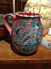 My pitcher, with one of Jennifer's vessels behind it.
